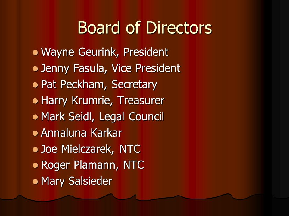 Board of Directors Wayne Geurink, President Wayne Geurink, President Jenny Fasula, Vice President Jenny Fasula, Vice President Pat Peckham, Secretary Pat Peckham, Secretary Harry Krumrie, Treasurer Harry Krumrie, Treasurer Mark Seidl, Legal Council Mark Seidl, Legal Council Annaluna Karkar Annaluna Karkar Joe Mielczarek, NTC Joe Mielczarek, NTC Roger Plamann, NTC Roger Plamann, NTC Mary Salsieder Mary Salsieder
