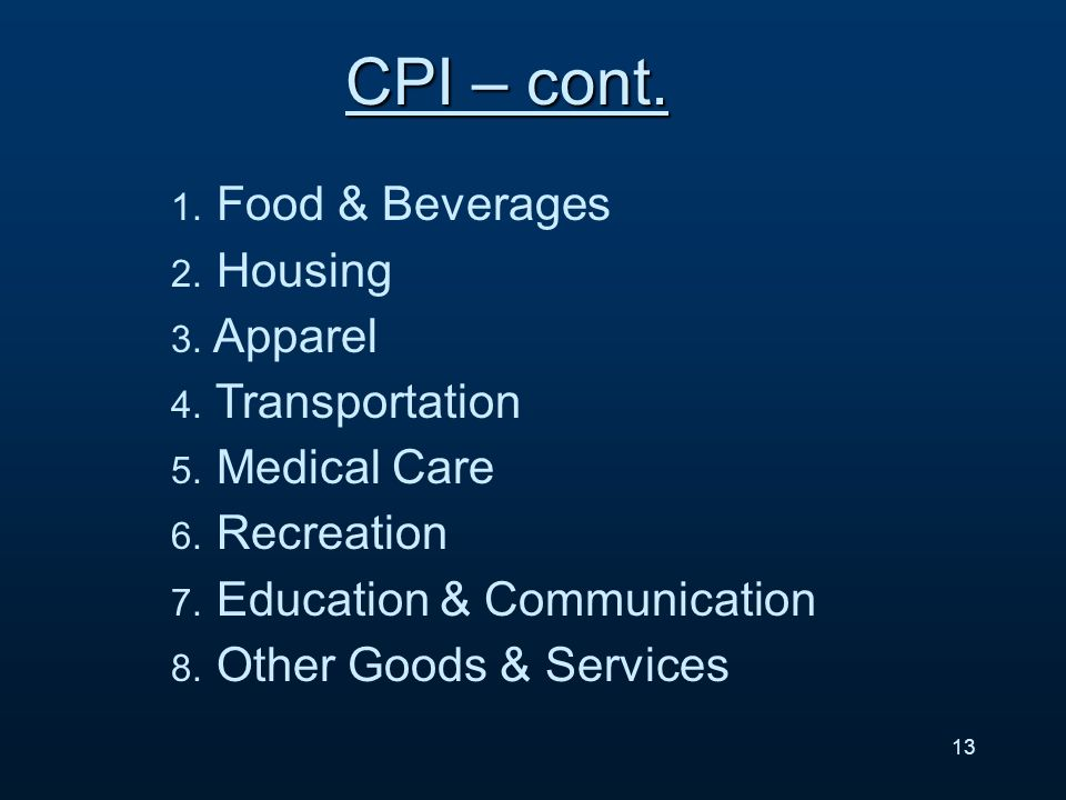 13 CPI – cont. 1. Food & Beverages 2. Housing 3.