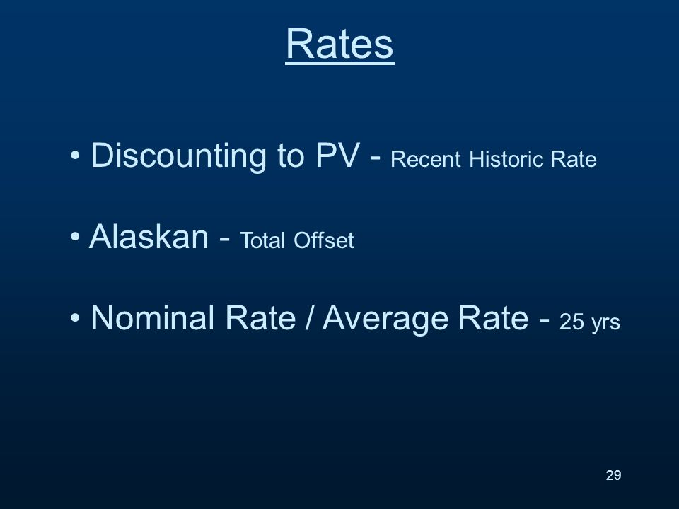 Rates 29 Discounting to PV - Recent Historic Rate Alaskan - Total Offset Nominal Rate / Average Rate - 25 yrs
