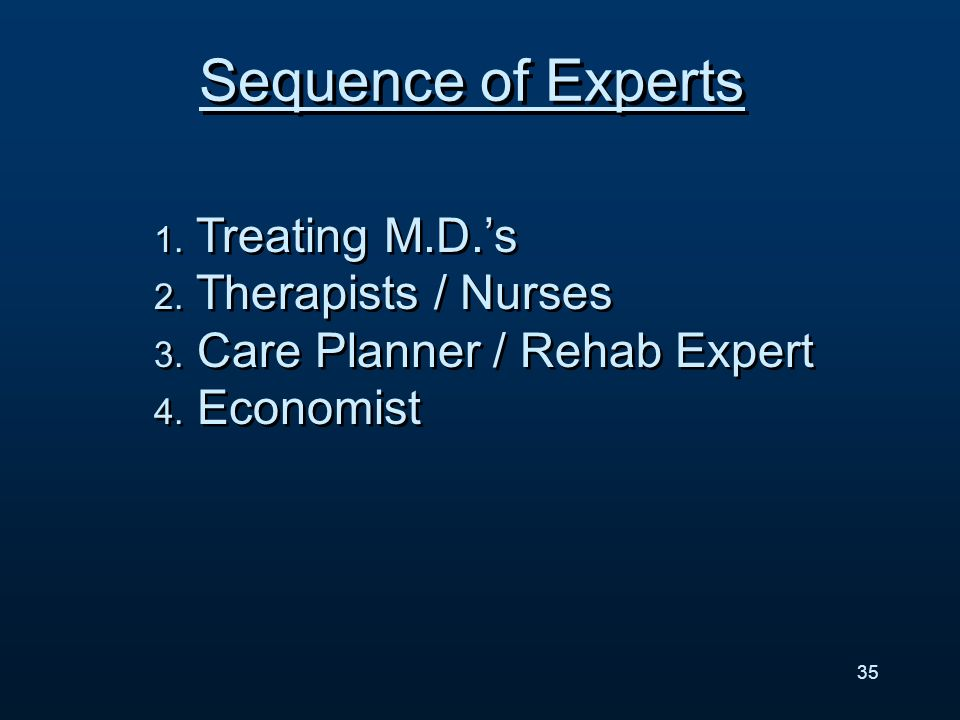 1. Treating M.D.s 2. Therapists / Nurses 3. Care Planner / Rehab Expert 4.