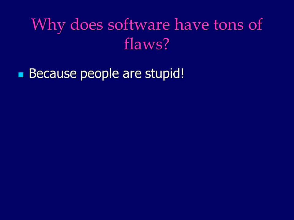 Why does software have tons of flaws Because people are stupid! Because people are stupid!