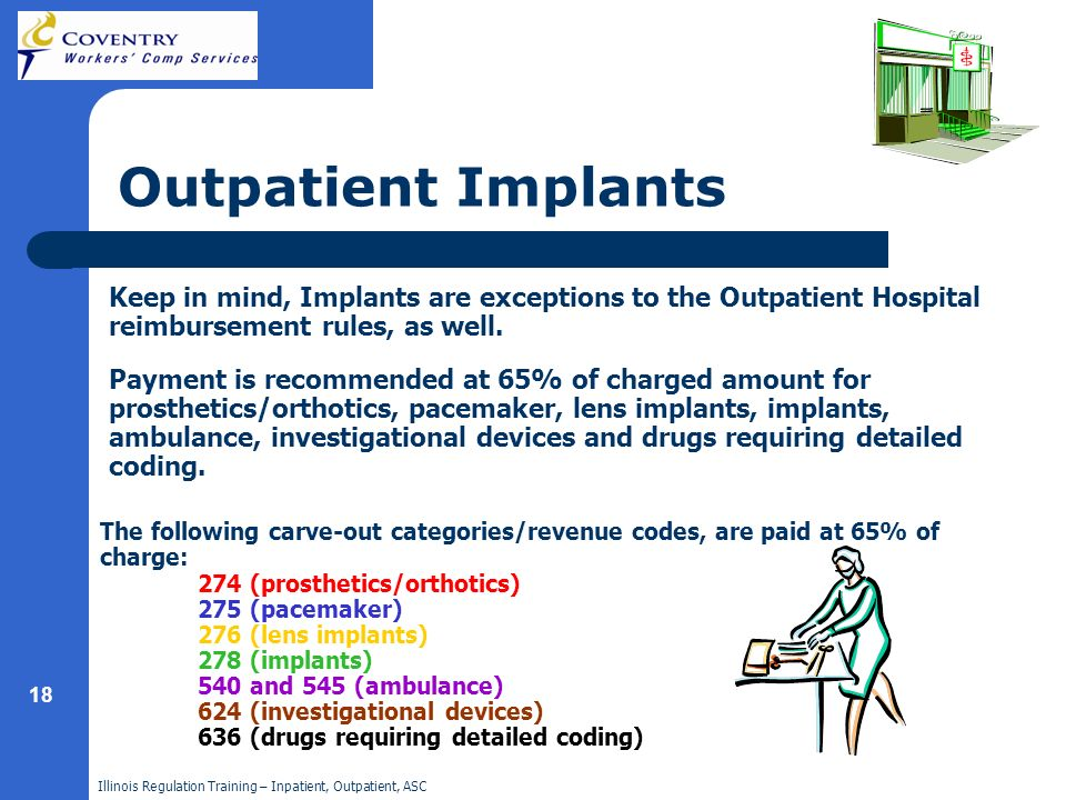 Illinois Regulation Training – Inpatient, Outpatient, ASC 18 Place holder Outpatient Implants Keep in mind, Implants are exceptions to the Outpatient Hospital reimbursement rules, as well.