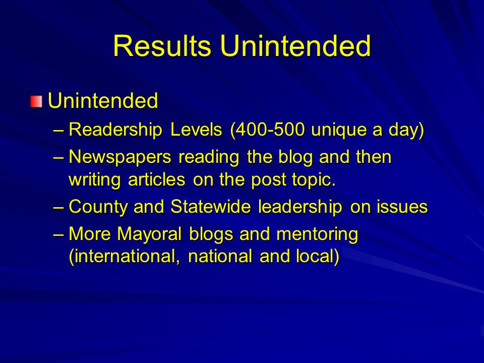 Results Unintended Unintended –Readership Levels ( unique a day) –Newspapers reading the blog and then writing articles on the post topic.