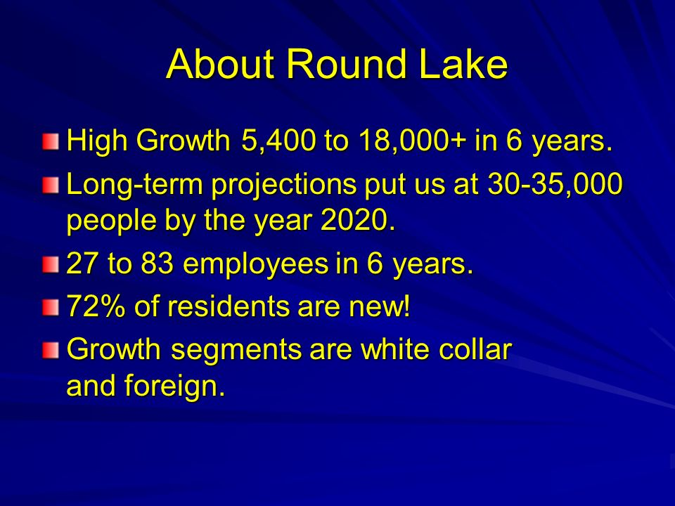 About Round Lake High Growth 5,400 to 18,000+ in 6 years.