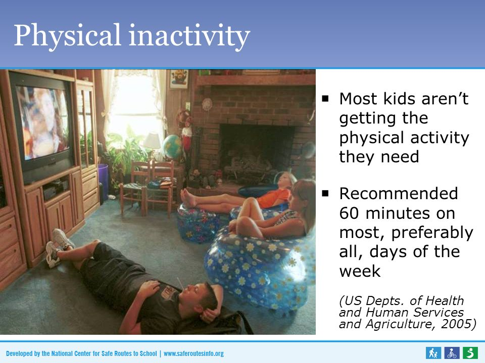 Physical inactivity Most kids arent getting the physical activity they need Recommended 60 minutes on most, preferably all, days of the week (US Depts.