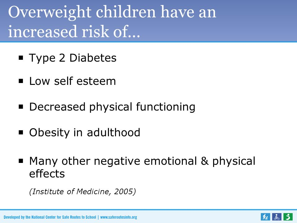 Overweight children have an increased risk of… Type 2 Diabetes Low self esteem Decreased physical functioning Obesity in adulthood Many other negative emotional & physical effects (Institute of Medicine, 2005)