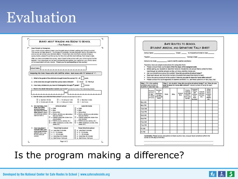 Evaluation Is the program making a difference