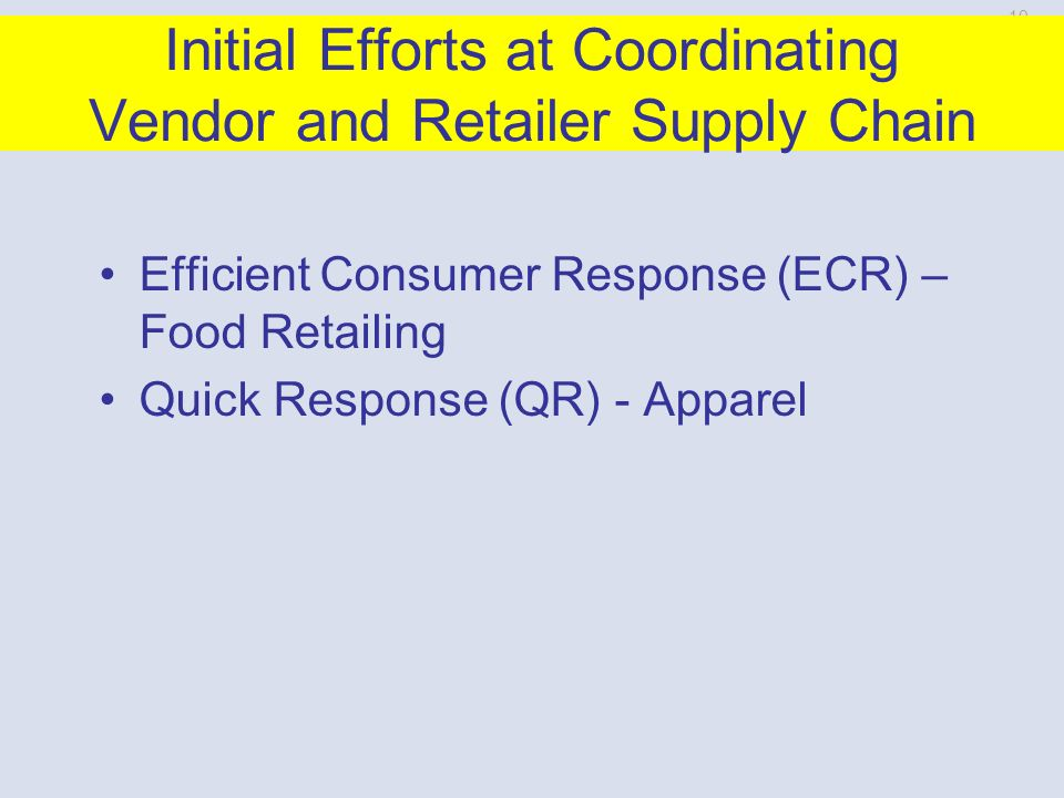 10-40 Retailers and Vendors Work Together Use EDI Exchange information to reduce need for backup inventory, improve sales forecasts and production efficiency Vendor manage inventory Collaborative planning, forecasting and replacement PhotoDisc/Getty Images By working together they can reduce the level of inventory in the chain and reduce the number of stockouts.