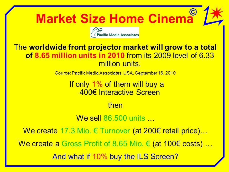 Market Size Home Cinema The worldwide front projector market will grow to a total of 8.65 million units in 2010 from its 2009 level of 6.33 million units.