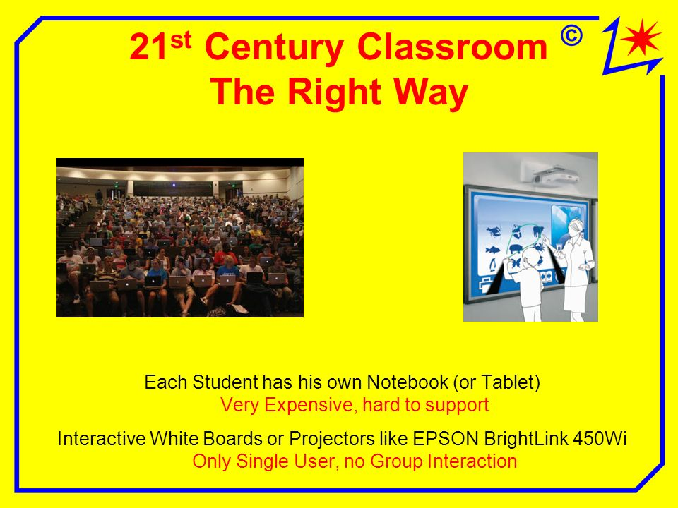21 st Century Classroom The Right Way Each Student has his own Notebook (or Tablet) Very Expensive, hard to support Interactive White Boards or Projectors like EPSON BrightLink 450Wi Only Single User, no Group Interaction