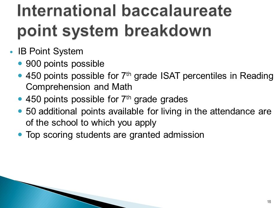 18 IB Point System 900 points possible 450 points possible for 7 th grade ISAT percentiles in Reading Comprehension and Math 450 points possible for 7 th grade grades 50 additional points available for living in the attendance are of the school to which you apply Top scoring students are granted admission