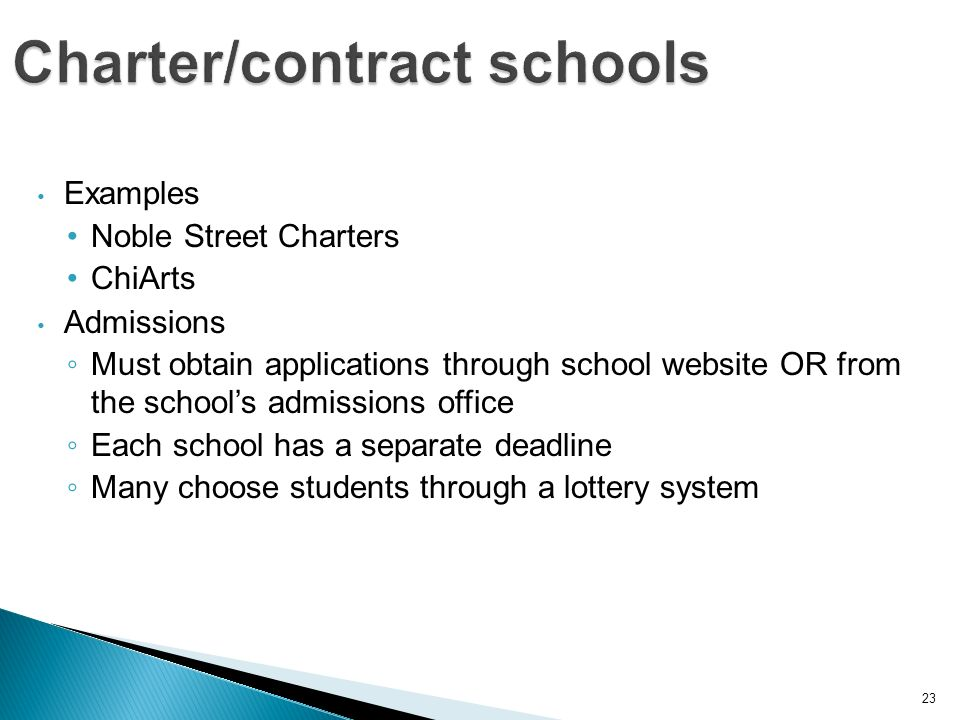 23 Examples Noble Street Charters ChiArts Admissions Must obtain applications through school website OR from the schools admissions office Each school has a separate deadline Many choose students through a lottery system