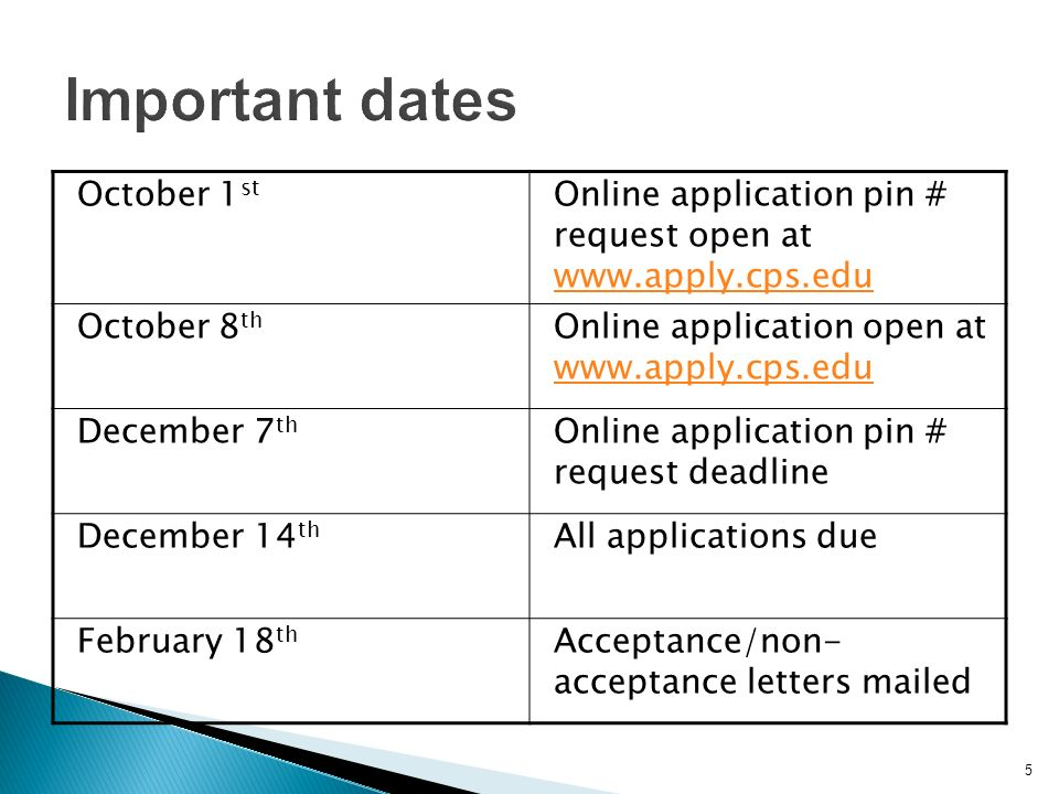 5 October 1 st Online application pin # request open at     October 8 th Online application open at     December 7 th Online application pin # request deadline December 14 th All applications due February 18 th Acceptance/non- acceptance letters mailed
