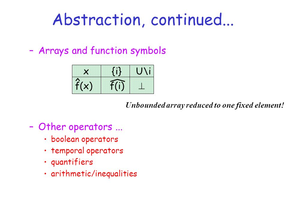 –Arrays and function symbols –Other operators...