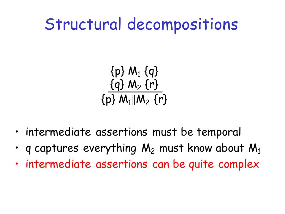 Structural decompositions intermediate assertions must be temporal q captures everything M 2 must know about M 1 intermediate assertions can be quite complex {p} M 1 {q} {q} M 2 {r} {p} M 1 M 2 {r}