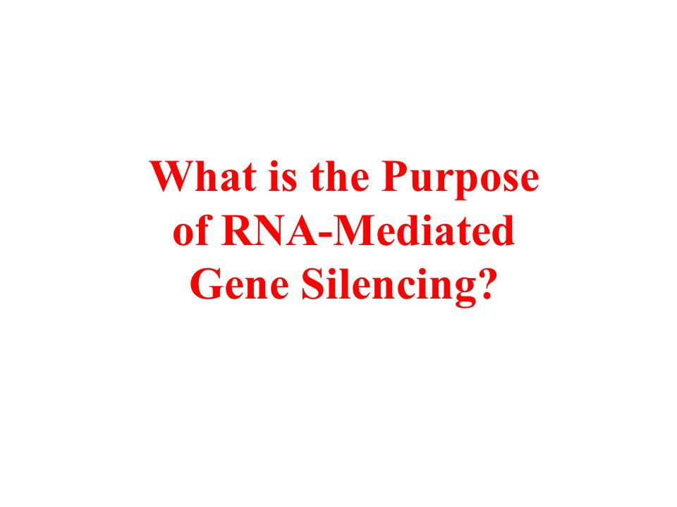 What is the Purpose of RNA-Mediated Gene Silencing