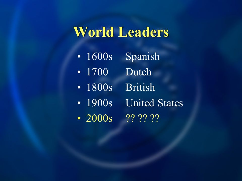 World Leaders 1600sSpanish 1700Dutch 1800sBritish 1900sUnited States 2000s