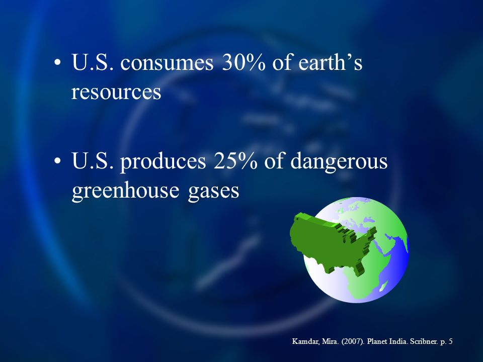 U.S. consumes 30% of earths resources U.S.
