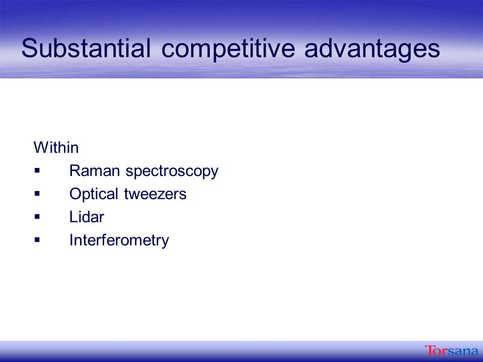 Substantial competitive advantages Within Raman spectroscopy Optical tweezers Lidar Interferometry