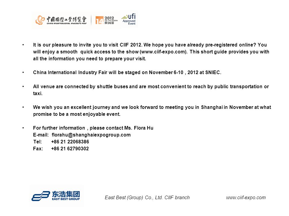 It is our pleasure to invite you to visit CIIF 2012.