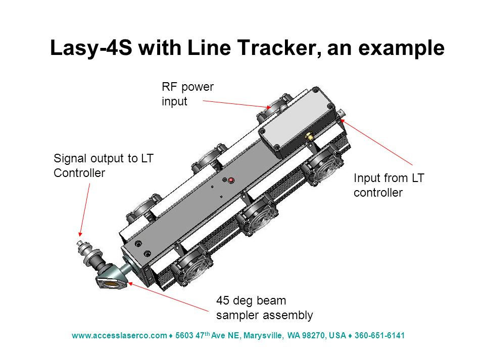 th Ave NE, Marysville, WA 98270, USA Lasy-4S with Line Tracker, an example Input from LT controller RF power input 45 deg beam sampler assembly Signal output to LT Controller