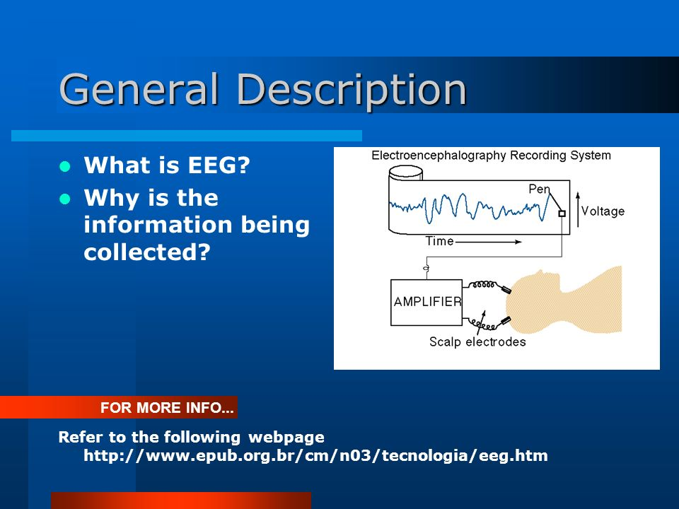 General Description What is EEG. Why is the information being collected.