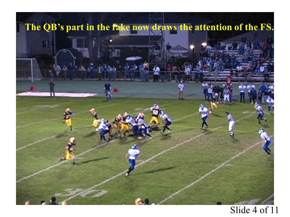 The QBs part in the fake now draws the attention of the FS. Slide 4 of 11