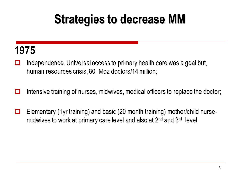 9 Strategies to decrease MM 1975 Independence.