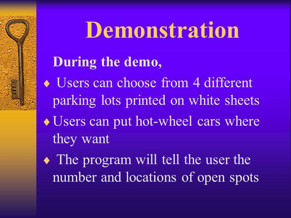 Demonstration During the demo, Users can choose from 4 different parking lots printed on white sheets Users can put hot-wheel cars where they want The program will tell the user the number and locations of open spots