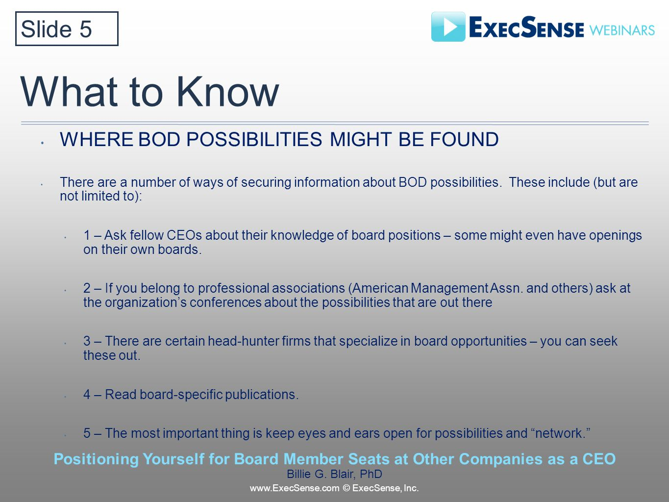 What to Know WHERE BOD POSSIBILITIES MIGHT BE FOUND There are a number of ways of securing information about BOD possibilities.
