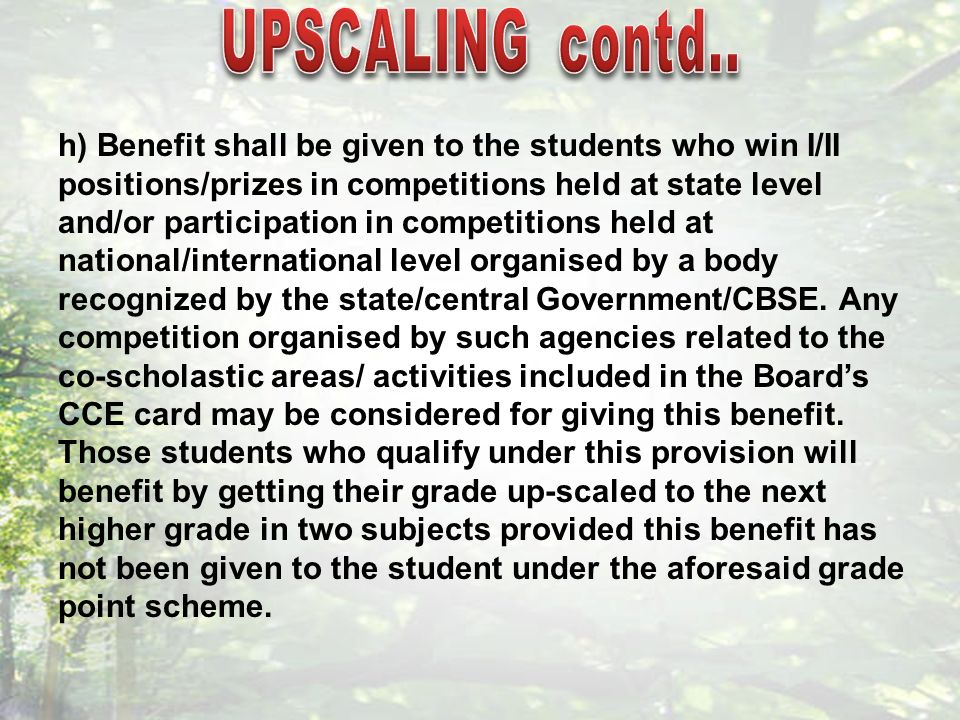 h) Benefit shall be given to the students who win I/II positions/prizes in competitions held at state level and/or participation in competitions held at national/international level organised by a body recognized by the state/central Government/CBSE.