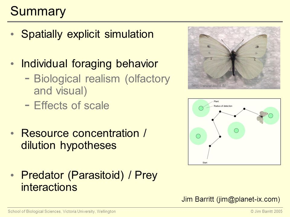 © Jim Barritt 2005School of Biological Sciences, Victoria University, Wellington Summary Spatially explicit simulation Individual foraging behavior - Biological realism (olfactory and visual) - Effects of scale Resource concentration / dilution hypotheses Predator (Parasitoid) / Prey interactions   Jim Barritt