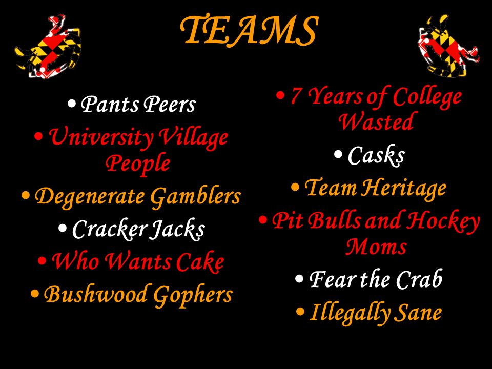 TEAMS Pants Peers University Village People Degenerate Gamblers Cracker Jacks Who Wants Cake Bushwood Gophers 7 Years of College Wasted Casks Team Heritage Pit Bulls and Hockey Moms Fear the Crab Illegally Sane