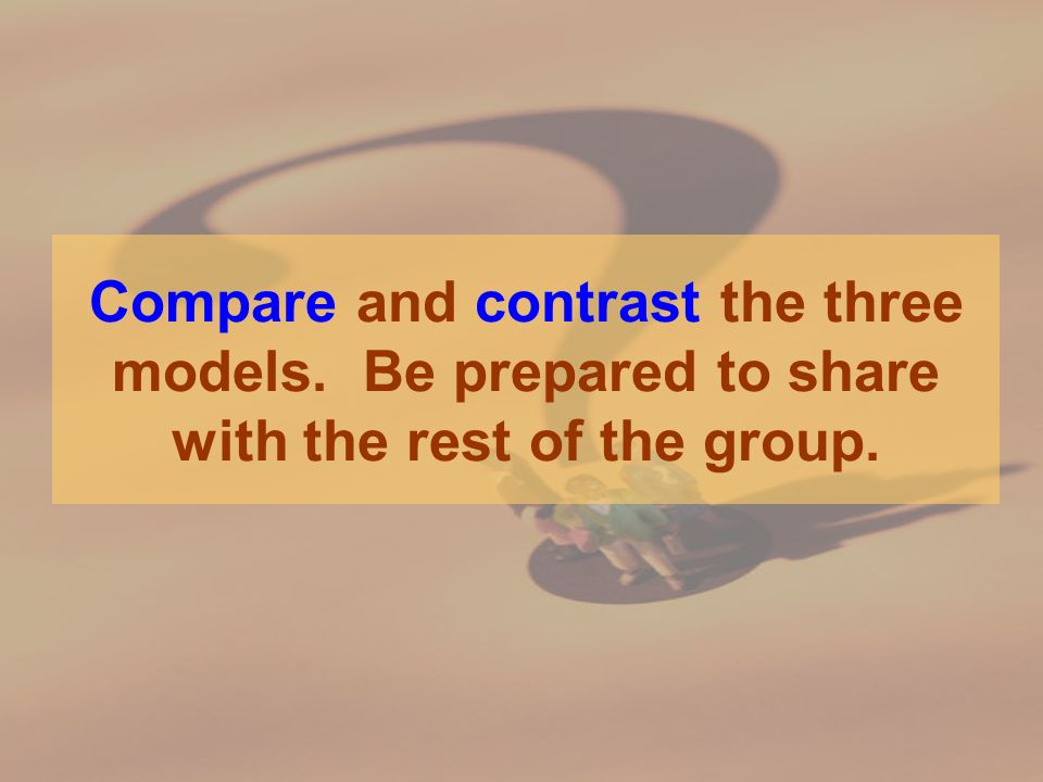 Compare and contrast the three models. Be prepared to share with the rest of the group.