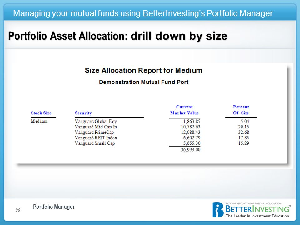 Portfolio Manager Managing your mutual funds using BetterInvestings Portfolio Manager 28 Portfolio Asset Allocation: drill down by size