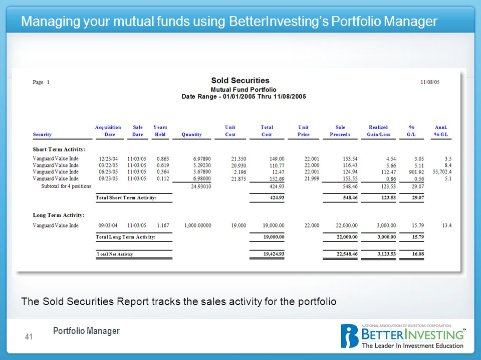 Portfolio Manager Managing your mutual funds using BetterInvestings Portfolio Manager 41 The Sold Securities Report tracks the sales activity for the portfolio