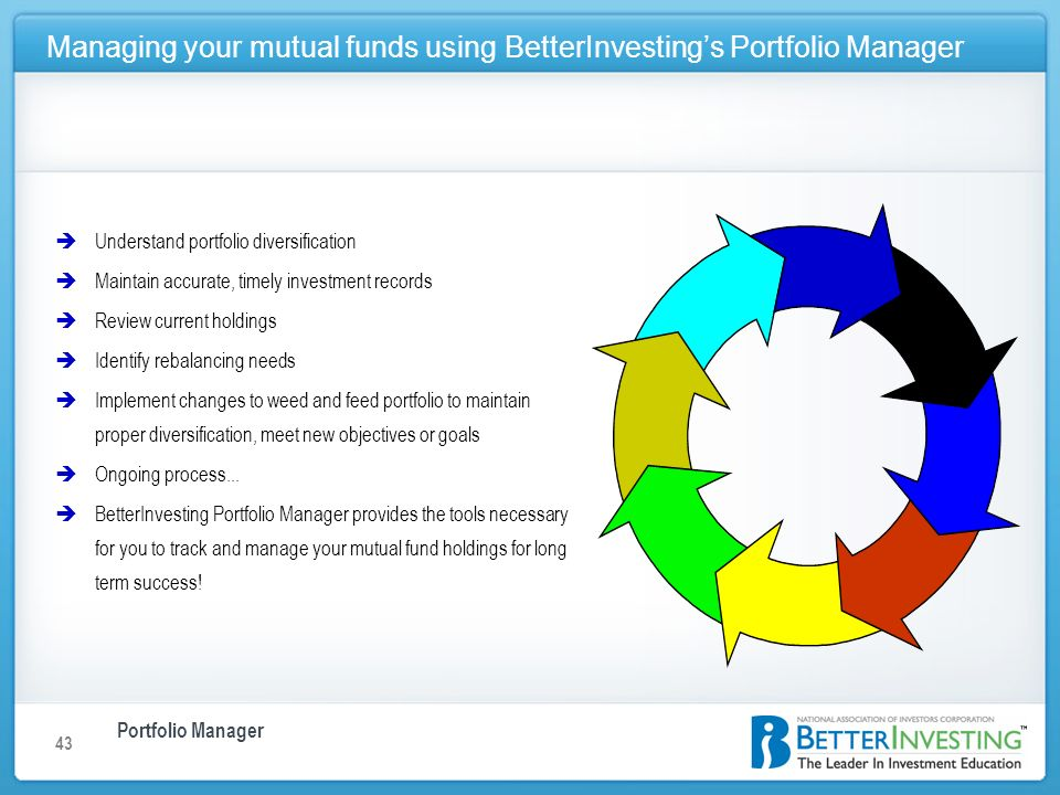 Portfolio Manager Managing your mutual funds using BetterInvestings Portfolio Manager 43 èUnderstand portfolio diversification èMaintain accurate, timely investment records èReview current holdings èIdentify rebalancing needs èImplement changes to weed and feed portfolio to maintain proper diversification, meet new objectives or goals èOngoing process...