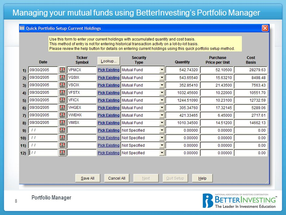 Portfolio Manager Managing your mutual funds using BetterInvestings Portfolio Manager 8