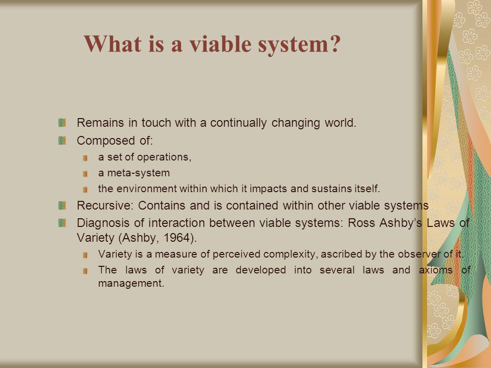What is a viable system. Remains in touch with a continually changing world.
