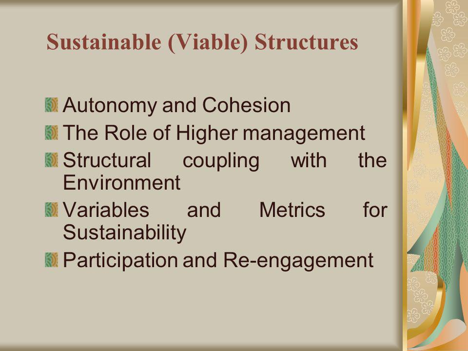 Sustainable (Viable) Structures Autonomy and Cohesion The Role of Higher management Structural coupling with the Environment Variables and Metrics for Sustainability Participation and Re-engagement