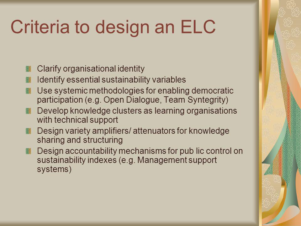 Criteria to design an ELC Clarify organisational identity Identify essential sustainability variables Use systemic methodologies for enabling democratic participation (e.g.