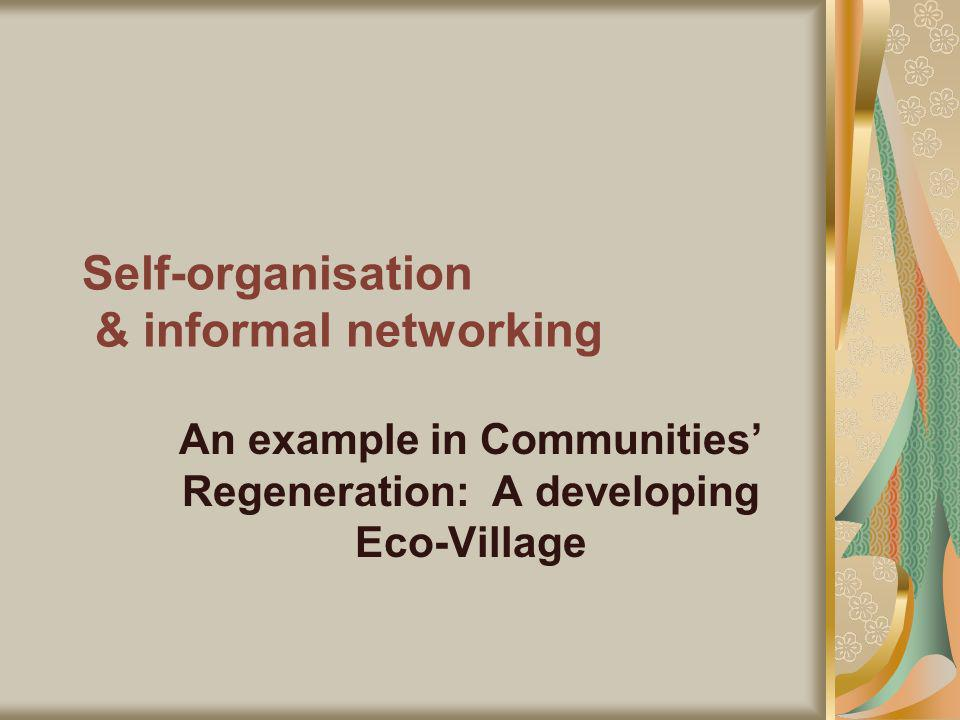 Self-organisation & informal networking An example in Communities Regeneration: A developing Eco-Village