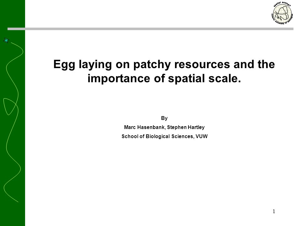 1 Egg laying on patchy resources and the importance of spatial scale.