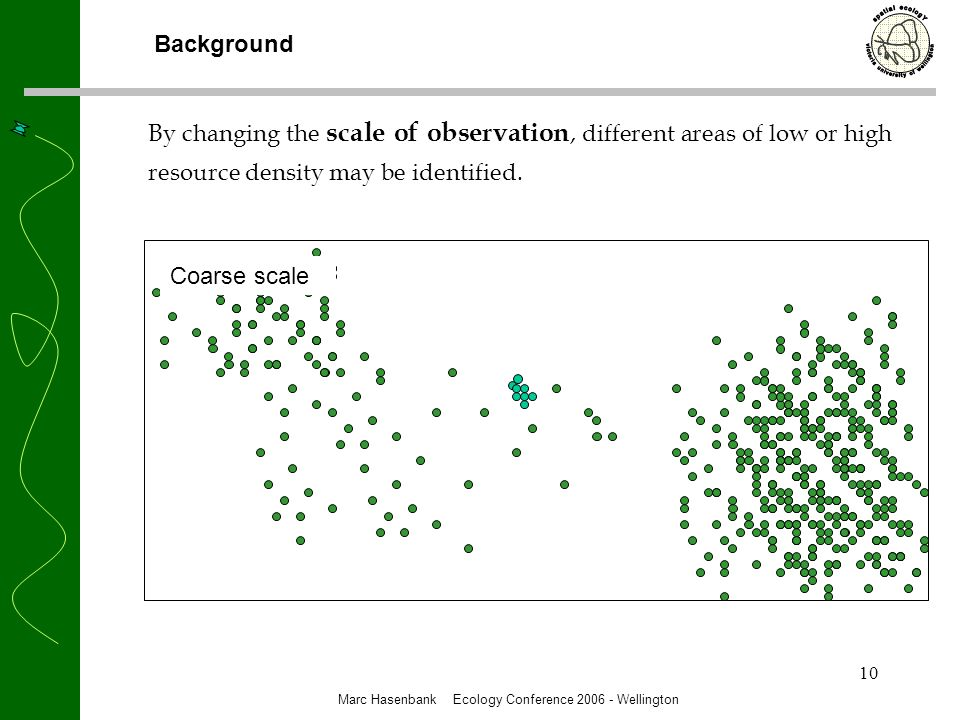 10 By changing the scale of observation, different areas of low or high resource density may be identified.
