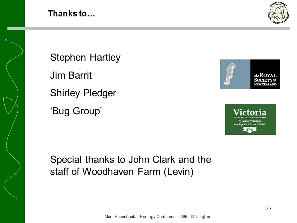 23 Thanks to… Marc Hasenbank Ecology Conference 2006 - Wellington Stephen Hartley Jim Barrit Shirley Pledger Bug Group Special thanks to John Clark and the staff of Woodhaven Farm (Levin)