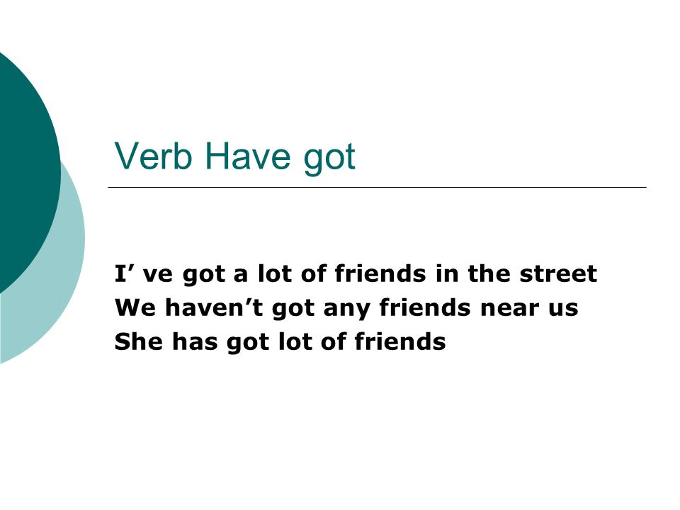 Verb Have got I ve got a lot of friends in the street We havent got any friends near us She has got lot of friends