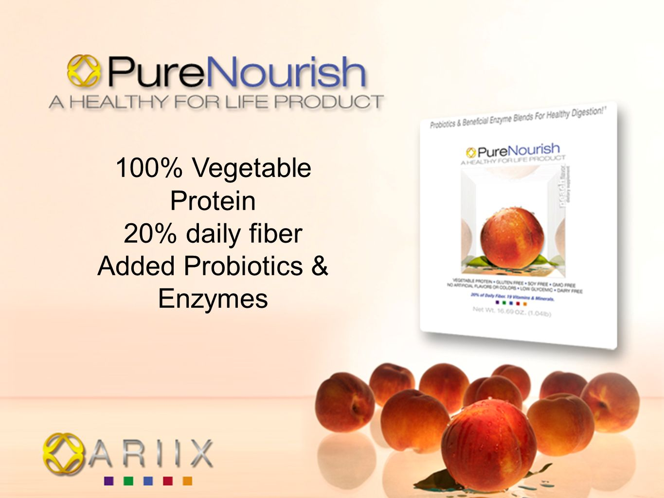100% Vegetable Protein 20% daily fiber Added Probiotics & Enzymes