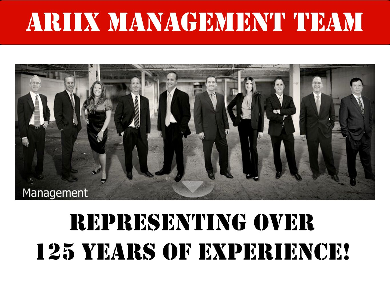Representing over 125 years of experiencE! ariix leadership teamARIIX Management team