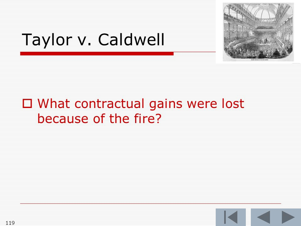 Taylor v. Caldwell What contractual gains were lost because of the fire 119