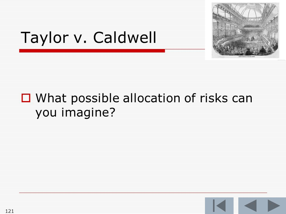 Taylor v. Caldwell What possible allocation of risks can you imagine 121